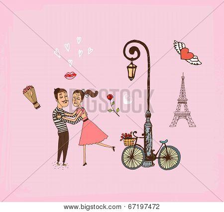 Romantic couple on a Paris vacation