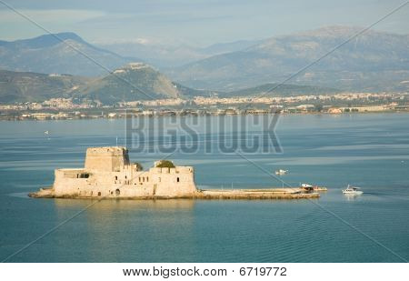 Bird's-eye View Of Bourtzi Fortress In Nafplion, A Greek Town At Peloponnese Peninsula. Photo Taken