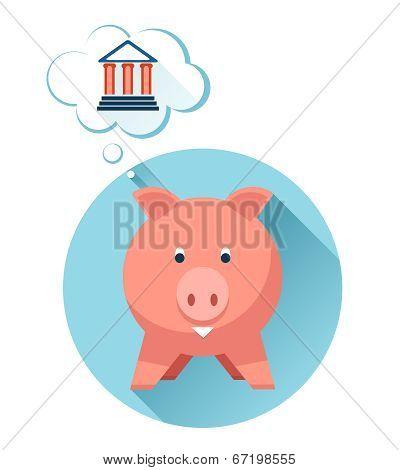 Happy pig with bank symbol