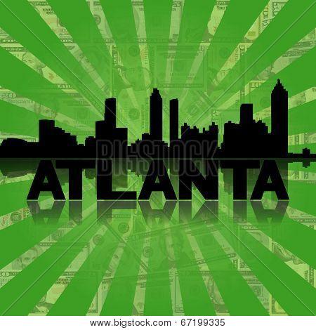 Atlanta skyline reflected with green dollars sunburst illustration
