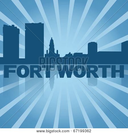 Fort Worth skyline reflected with blue sunburst illustration