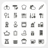 stock photo of saucepan  - Kitchen and cooking icons set isolated on white background - JPG