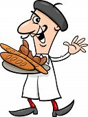 picture of french beret  - Cartoon Illustration of Funny French Baker or Cook with Croissant and Bread - JPG