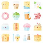stock photo of pie-in-face  - Flat icons set of popular food in cute modern style - JPG