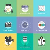 foto of production  - Flat icons set of professional film production and movie shooting - JPG