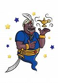 picture of genie  - Cartoon genie with golden lamp and wapon for fairytale design - JPG