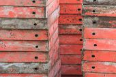 foto of formwork  - a lot of building site formworks in a construction - JPG