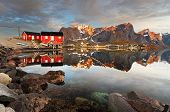 stock photo of reining  - View over Reine village Norway at sunrise - JPG