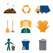 stock photo of landfill  - Garbage recycling icons flat set of landfill truck gloves isolated vector illustration - JPG