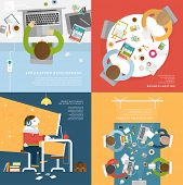 stock photo of worker  - Set of Flat Style Illustrations - JPG