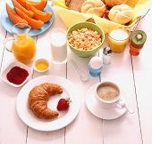 foto of continental food  - Table set for breakfast with healthy food top view