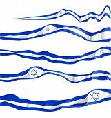 picture of israel israeli jew jewish  - Israel flag set isolated on white background - JPG