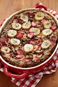 foto of pecan nut  - Strawberry Banana Oatmeal with chocolate and pecan nuts - JPG