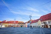 stock photo of sibiu  - View of Piata Mare  - JPG