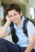 picture of pre-teen boy  - Pre teen boy at school - JPG