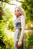 picture of fairy tail  - Beautiful blonde girl in green magic forest - JPG