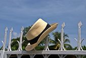 stock photo of panama hat  - A panama hat resting in a fence - JPG