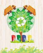 image of segregation  - ecology card design segregation of garbage  - JPG