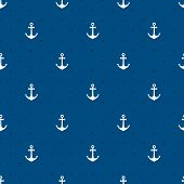 stock photo of marines  - Vector blue anchors seamless pattern in a naurtical or marine themed background suitable for wallpaper or fabric  square format - JPG