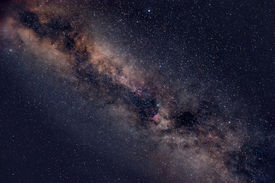 stock photo of cosmic  - Beautiful night sky with Milky Way and myriads of stars