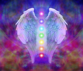 picture of quantum  - Angel wings and seven chakras on colorful background - JPG