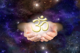 picture of om  - Cupped hands emerging from deep space background with golden  - JPG