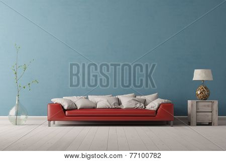 Interior of living room with a red sofa in front of a blue wall (3D Rendering)