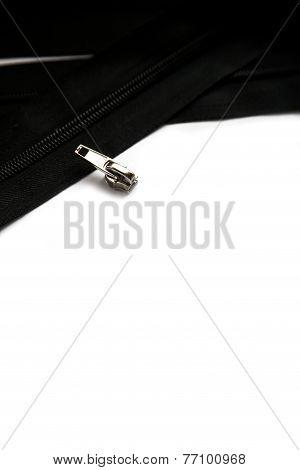 Black zipper isolated on white background