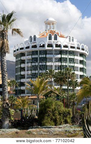 Modern hotels on Playa de Las Americas, Tenerife