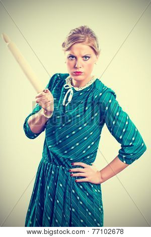 Angry retro housewife