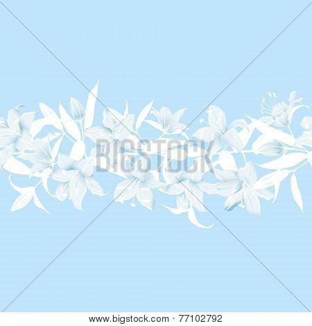 Lilies blue horizontal seamless banner