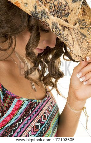 Cowgirl Close Colorful Tank Top Look Down Touch Hat