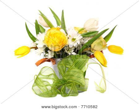 Bright Bouquet Of Tulips, Roses And Daisies