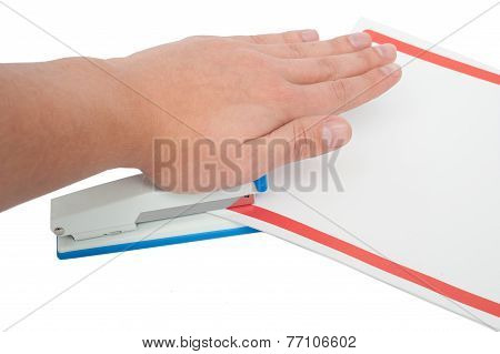 Stapling Papers With Stapler Isolated On White