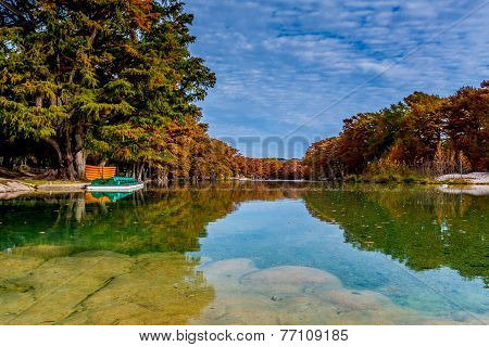 Fall Foliage on the Frio River at Garner State Park, Texas