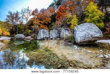 High Resolution Panoramic View of Crystal Stream and Granite Boulders with Bright Fall Foliage
