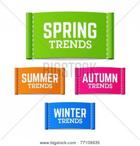 Spring, summer, autumn (fall) and winter trends labels. Vector.