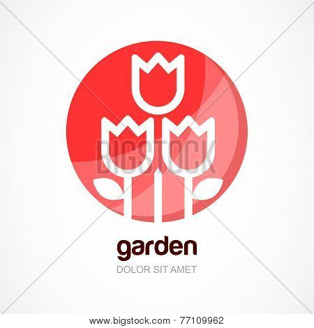 Red Tulip Flower In Circle, Vector Logo Template. Abstract Design Concept For Natural Organic Produc