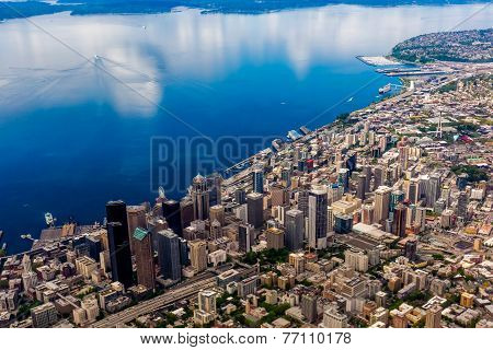 Beautiful Aerial View of the Pacific Northwestern City of Seattle, Washington, USA.