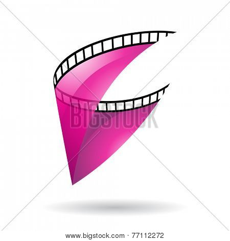 Magenta Transparent Film Reel Isolated on a white background