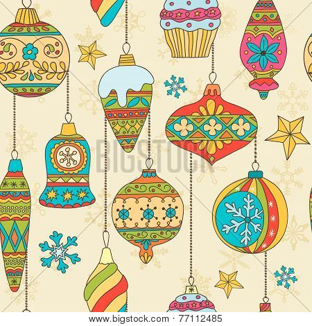 Hand drawn Christmas tree balls. Seamless pattern