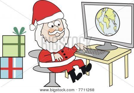 Santa at computer cartoon