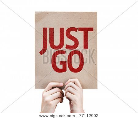 Just Go card isolated on white background