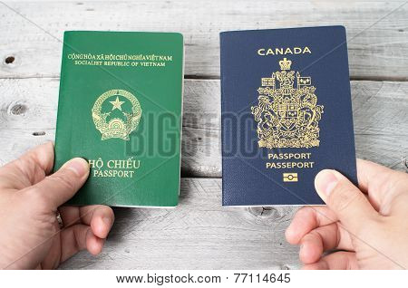 Dual citizenship concept Vietnamese and Canadian