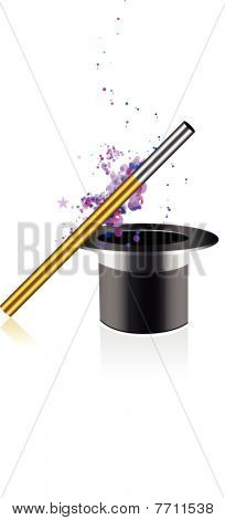 Beautiful vector magic background with wand and hat
