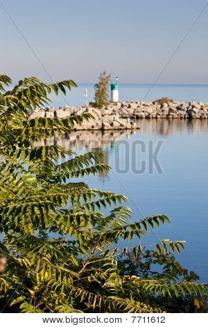 Breakwall Reflection In Still Water
