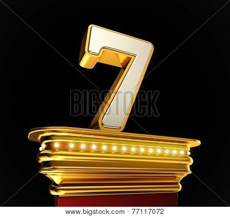 Number Seven on a golden platform with brilliant lights over black background