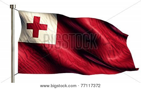 Tonga National Flag Isolated 3D White Background