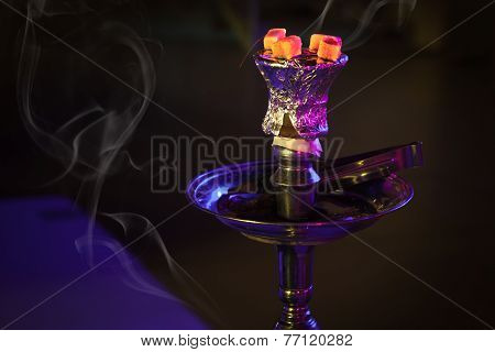 Hookah With Burning Coals In The Night