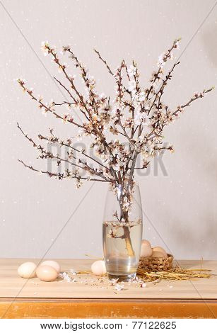 Easter still-life with a blossoming branch